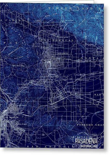 Pasadena California Old Map 1894 Blue Large Wall Art Greeting Card by Pablo Franchi