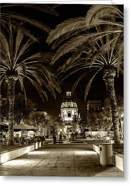 Greeting Card featuring the photograph Pasadena City Hall After Dark In Sepia Tone by Randall Nyhof