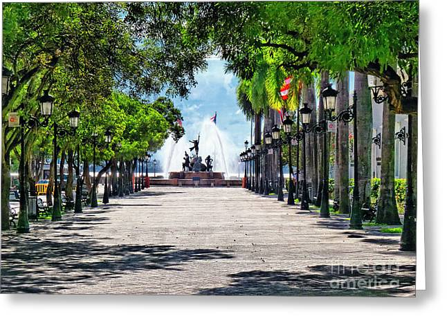 Paseo De La Princesa With The Roots Fountain Greeting Card by George Oze