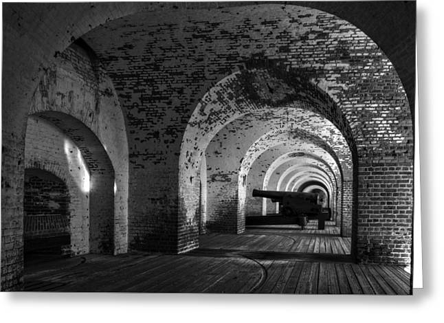 Passageways Of Fort Pulaski In Black And White Greeting Card