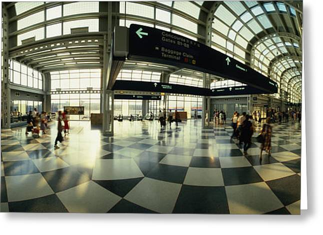 Passengers At An Airport, Ohare Greeting Card by Panoramic Images