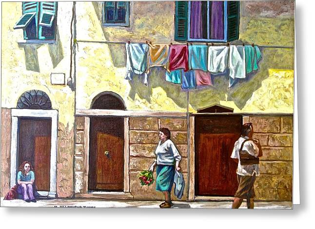 Passers By, Cinque Terre Greeting Card