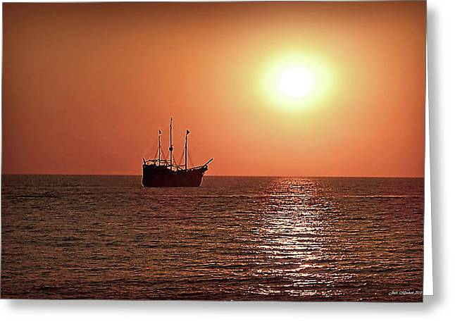 Greeting Card featuring the photograph Passing By In Calm Waters by Joan  Minchak