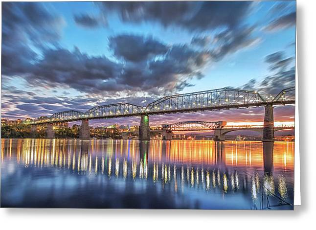 Passing Clouds Above Chattanooga Pano Greeting Card by Steven Llorca