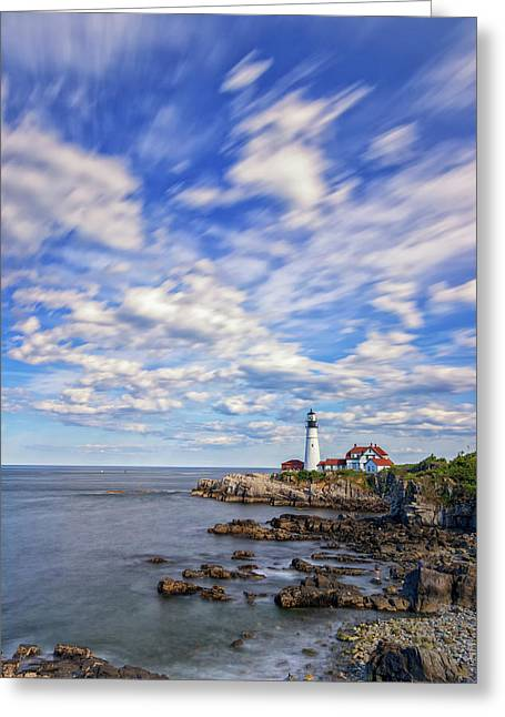 Passing Clouds At Portland Head Light Greeting Card