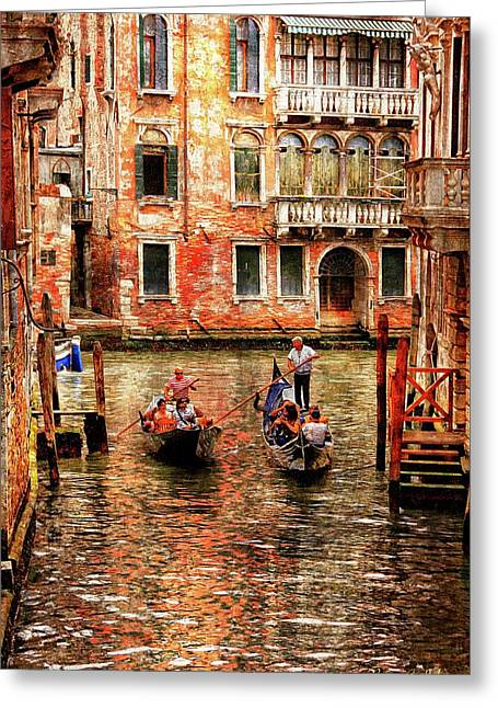 Passing Gondolas Greeting Card by Brian Lukas