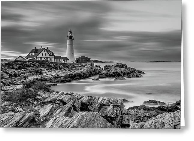 Passing Storm At Portland Head Light Greeting Card