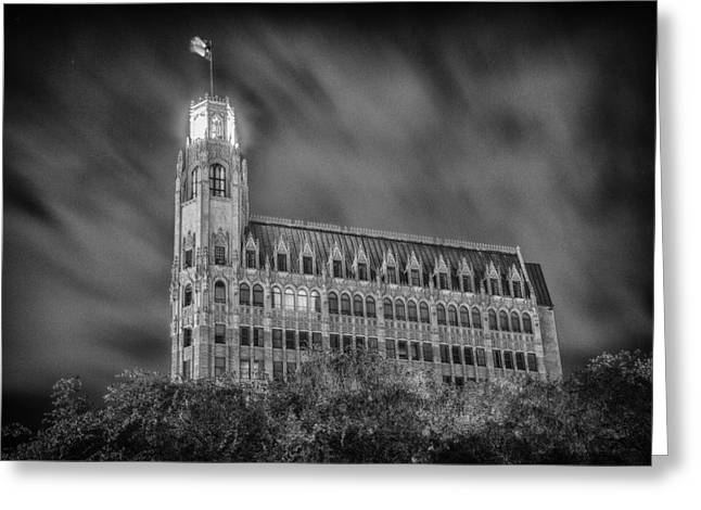 Passing Storm At The Emily Morgan Hotel Greeting Card by Stephen Stookey