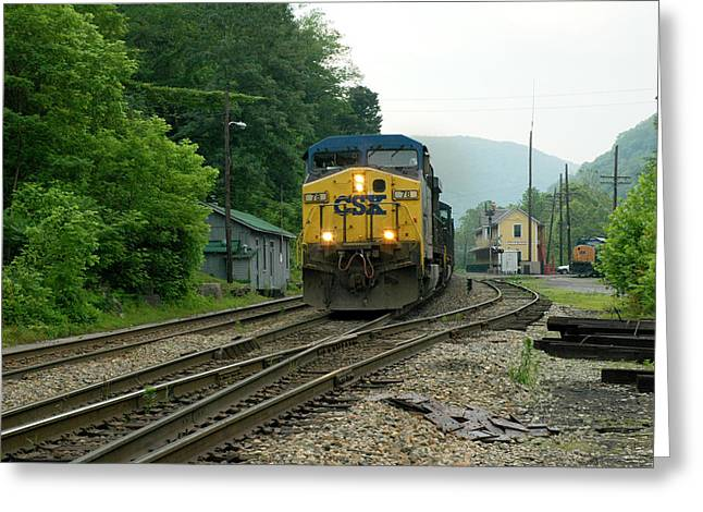 Passing Train Historic Passenger Train Depot Greeting Card by Thomas R Fletcher