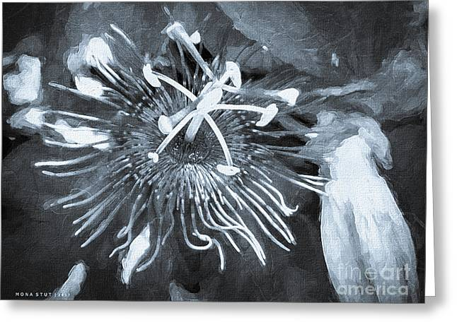Passion Flower Bw Greeting Card
