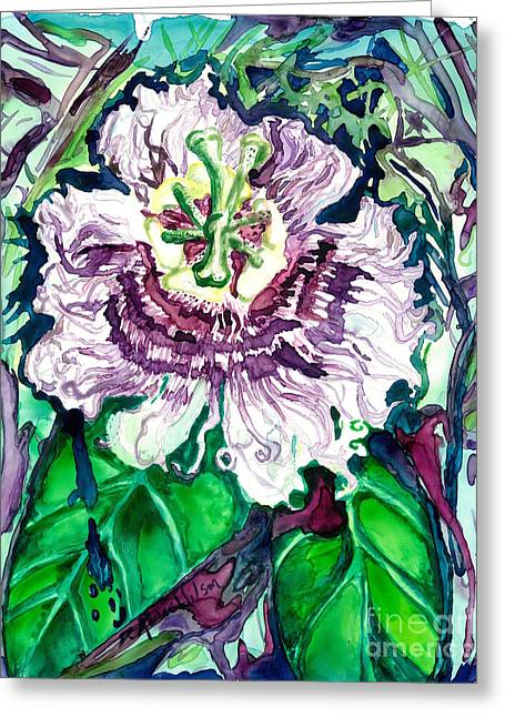 Passion Flower Greeting Card by D Renee Wilson