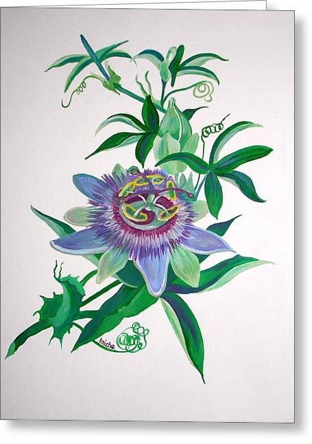 Passion Flower Greeting Card by Tracey Harrington-Simpson