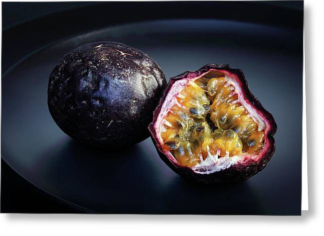 Passion Fruit On Black Plate Greeting Card