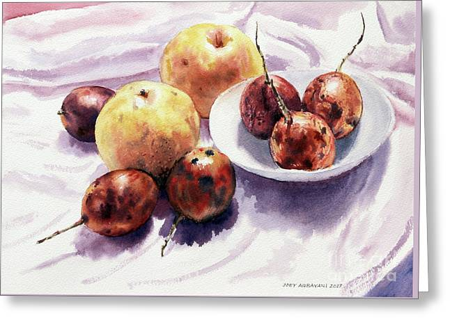 Passion Fruits And Pears 2 Greeting Card