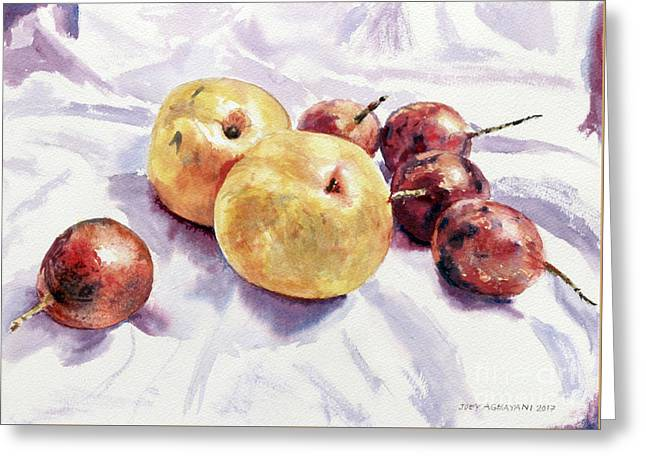Passion Fruits And Pears Greeting Card