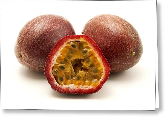 White Photographs Greeting Cards - Passion fruits Greeting Card by Fabrizio Troiani