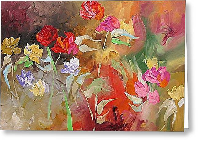 Passion In The Garden Greeting Card by Linda Monfort