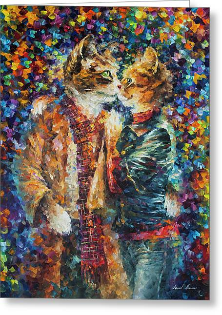 Passion Of The Cats  Greeting Card by leonid Afremov