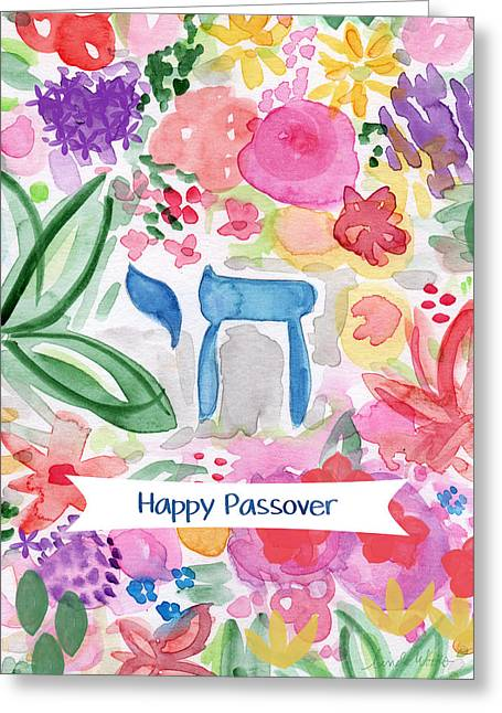 Greeting Card featuring the mixed media Passover Chai- Art By Linda Woods by Linda Woods