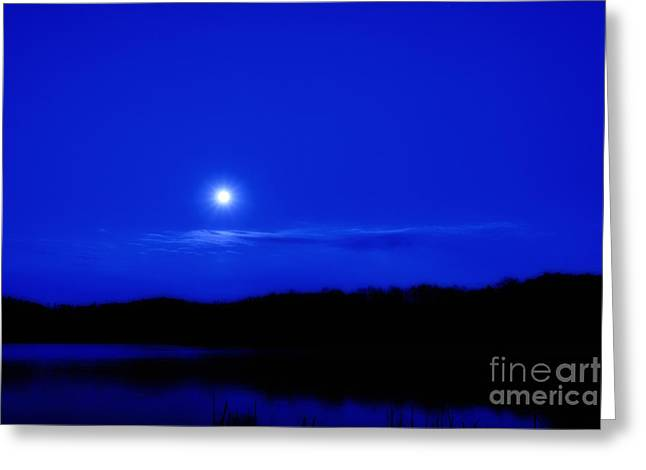 Passover Moon Over Lake Greeting Card by Thomas R Fletcher
