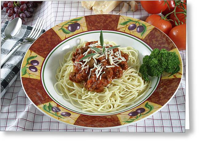 Pasta Dish With Meat Sauce Greeting Card by Jack Dagley