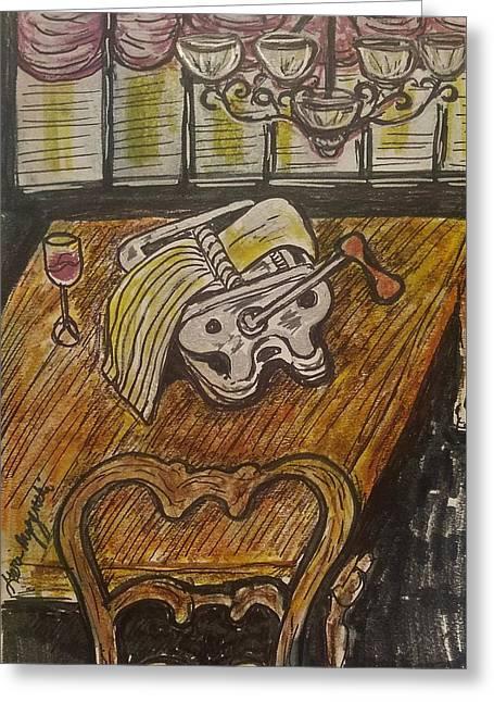 Pasta Time Greeting Card by Geraldine Myszenski