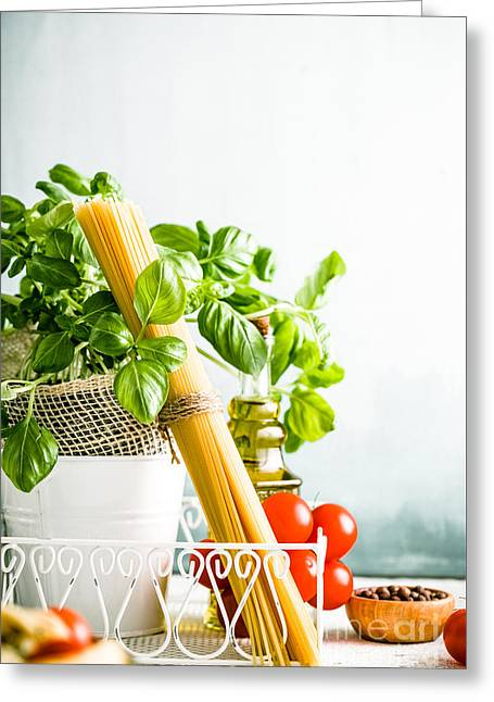 Pasta With Ingredients Greeting Card by Mythja Photography