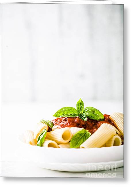 Pasta With Tomato Sauce Greeting Card