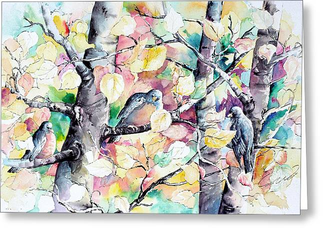 Pastel Aspen With Robins Greeting Card