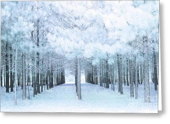 Pastel Baby Blue Nature Trees Woodlands - Baby Boy Pastel Blue Nursery Nature Decor Prints Wall Art Greeting Card