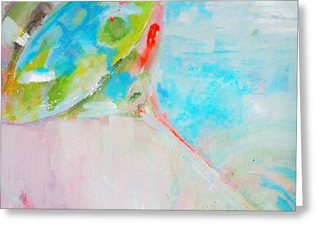 Pastel Blue Martini Painting Greeting Card by Lisa Kaiser