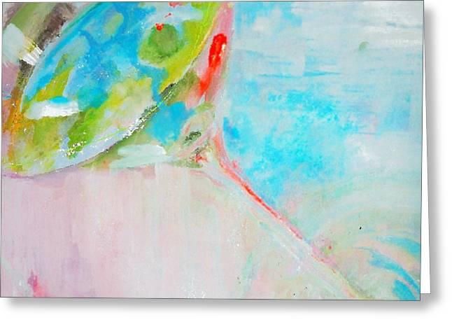 Pastel Blue Martini Painting Greeting Card