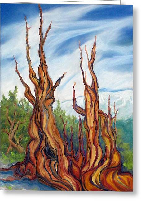 Greeting Card featuring the painting Pastel Bristlecone by Pat Crowther