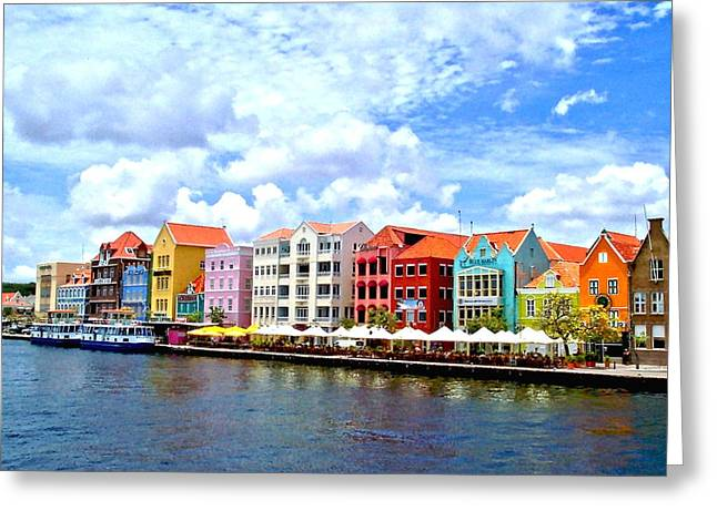 Pastel Building Coastline Of Caribbean Greeting Card by Amy McDaniel