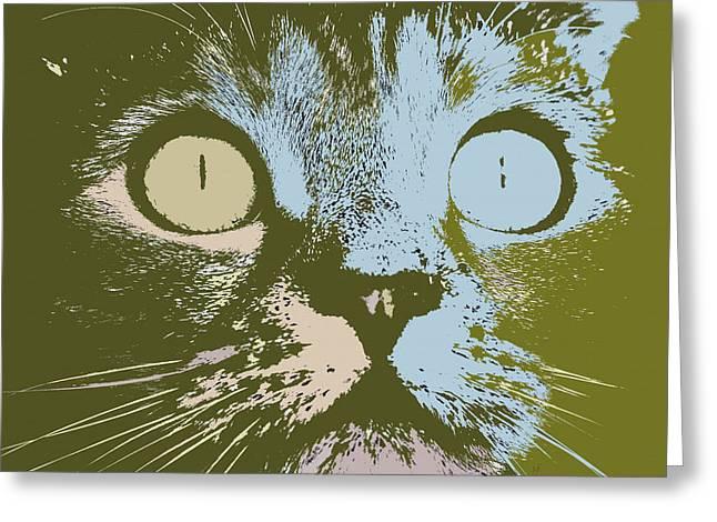 Greeting Card featuring the digital art Pastel Cat Pop Art by Shelli Fitzpatrick
