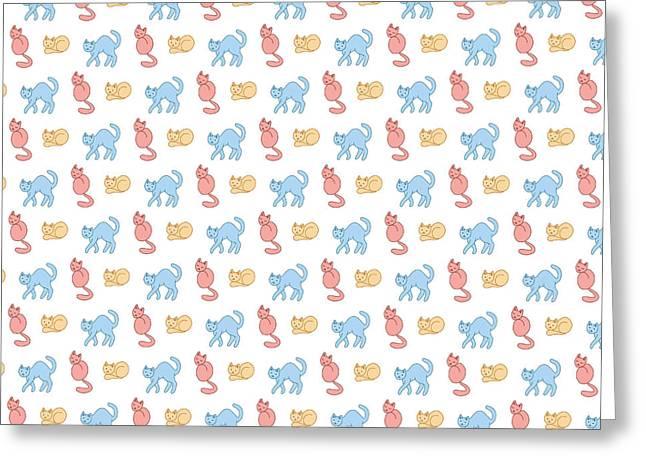 Pastel Cattern Greeting Card by Veronica Kusjen