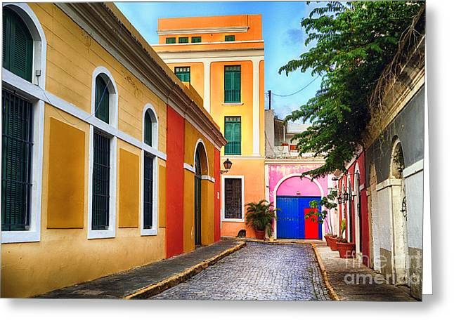 Pastel Colored Street In Old San Juan, Puerto Rico Greeting Card