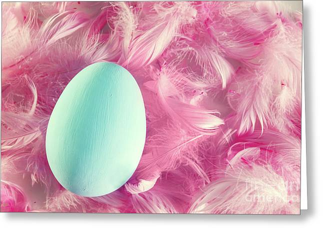 Pastel Easter Egg Lying On Feathers Greeting Card by Michal Bednarek