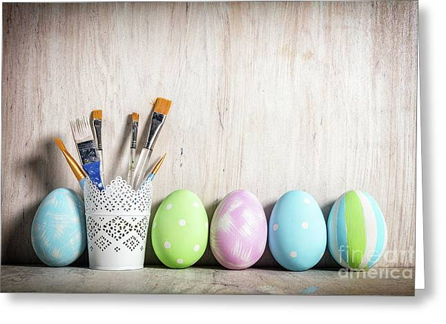 Pastel Easter Eggs And Brushes In A Rustic Cup Greeting Card