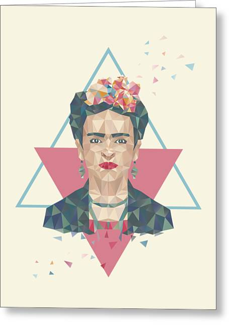 Pastel Frida - Geometric Portrait With Triangles Greeting Card by Julia Jasiczak
