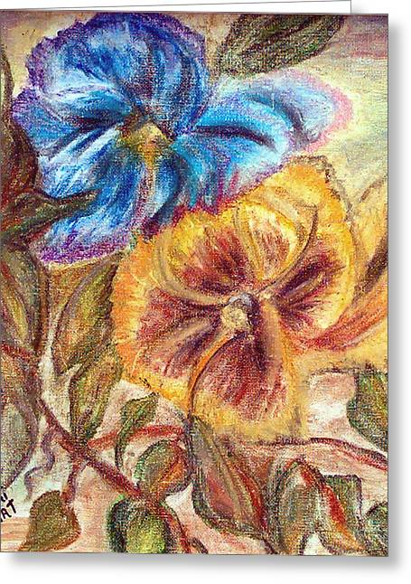 Pastel Pansy Greeting Card by Mikki Alhart