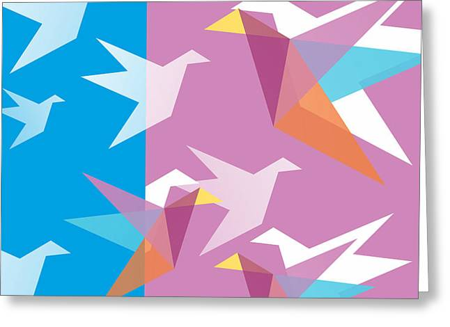 Pastel Paper Cranes Greeting Card