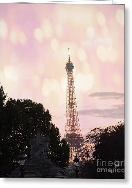 Greeting Card featuring the photograph Pastel Paris Eiffel Tower Sunset Bokeh Lights - Romantic Eiffel Tower Pink Pastel Home Decor by Kathy Fornal