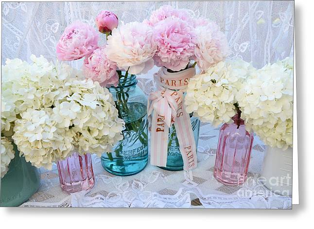 Pastel Pink Peonies Shabby Chic Art - Spring Flower Garden Peonies Hydrangeas In Vintage Jars Greeting Card by Kathy Fornal