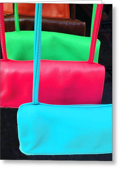 Greeting Card featuring the photograph Pastel Pocketbooks - Nyc Street Fair by Rick Locke