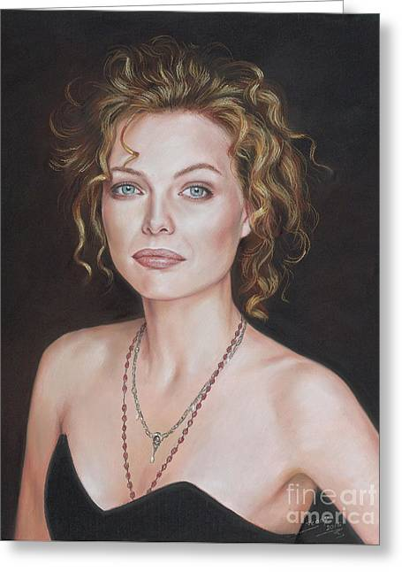 Pastel Portrait Of Amazing Michelle Pfeiffer Greeting Card