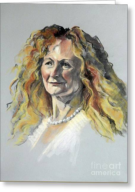 Pastel Portrait Of Woman With Frizzy Hair Greeting Card