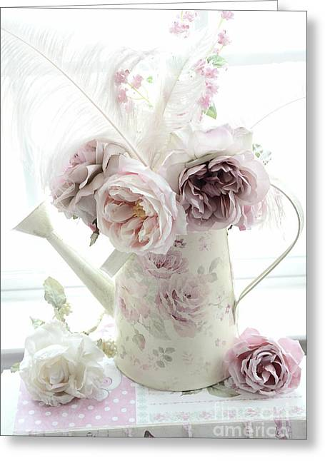 Greeting Card featuring the photograph Pastel Romantic Shabby Chic Pink Flowers In Watering Can - Romantic Cottage Floral Home Decor  by Kathy Fornal