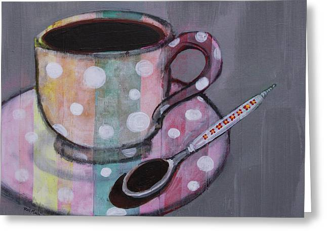 Greeting Card featuring the painting Pastel Stripes Polka Dotted Coffee Cup by Robin Maria Pedrero