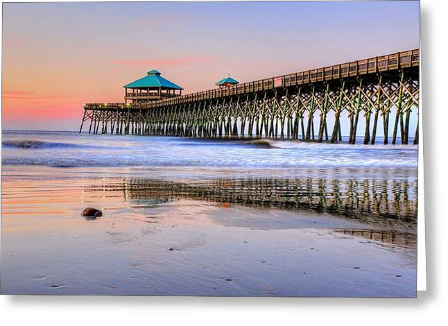 Pastel Sunrise On Folly Beach Pier In Charleston South Carolina Greeting Card